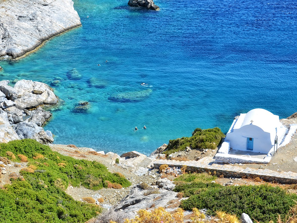 Agia Anna Strand Amorgos Kykladerna Grekland