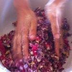 Mixing rose petals