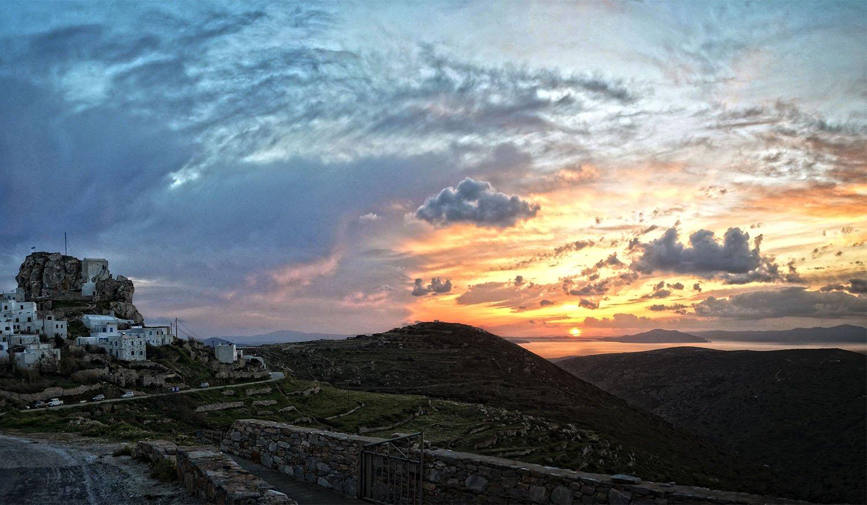 Winter landscape of Chora on Amorgos