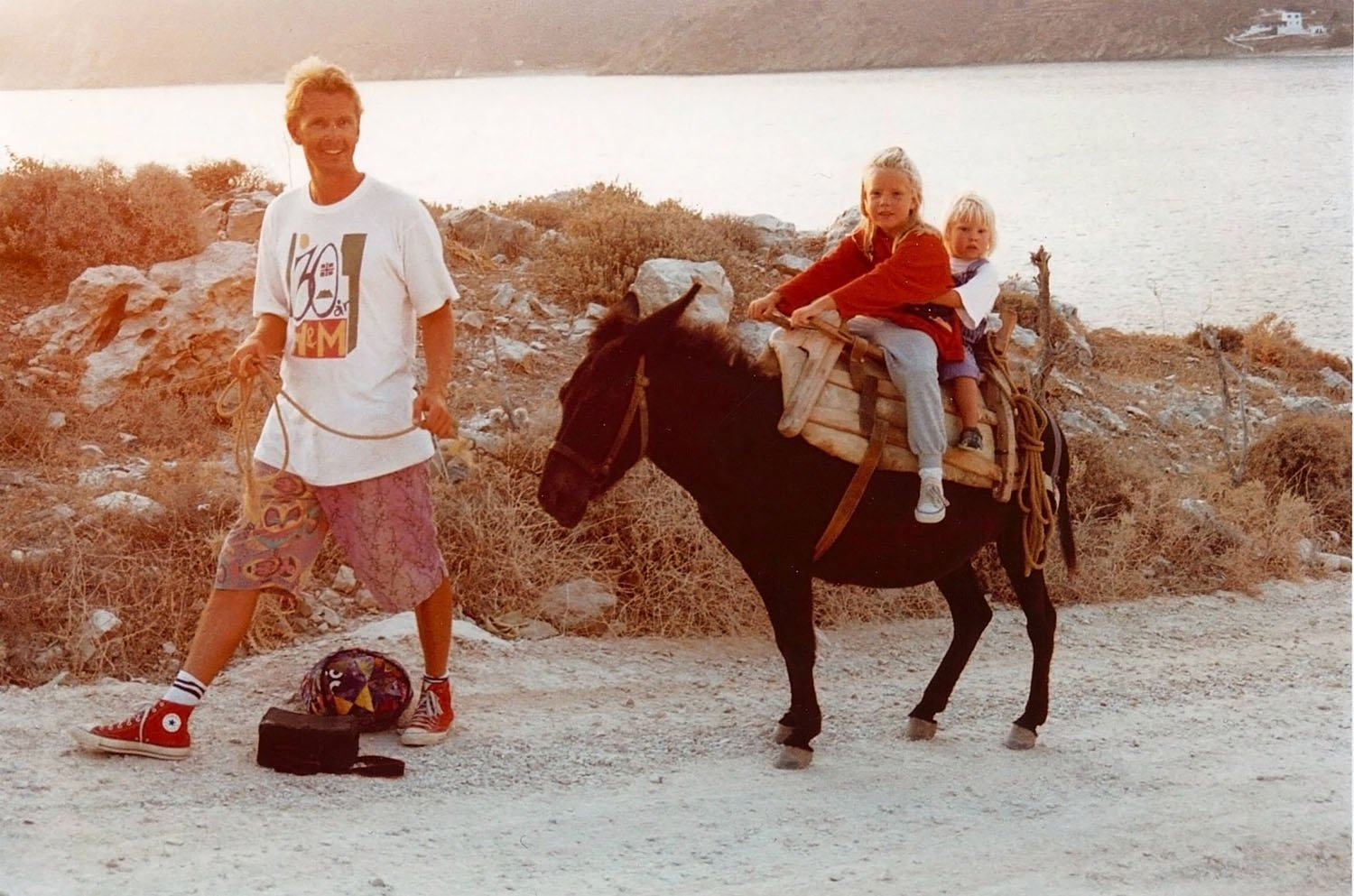 Tom with his daughters on the donkey Nula